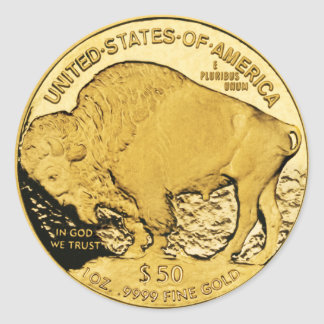 Búfalo americano de la moneda de oro $50 (paquete pegatina redonda