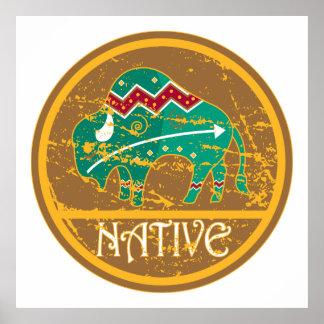 Búfalo indio del nativo americano poster