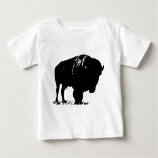 Búfalo negro y blanco del bisonte del arte pop camiseta de bebé