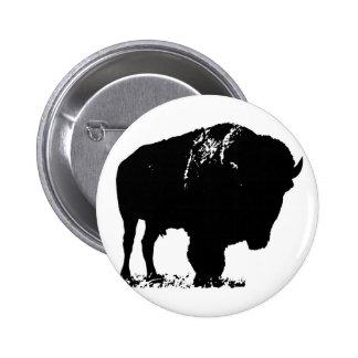 Búfalo negro y blanco del bisonte del arte pop chapa redonda de 5 cm