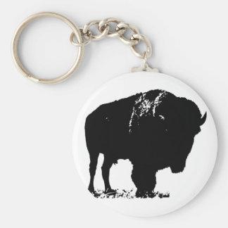 Búfalo negro y blanco del bisonte del arte pop llavero redondo tipo chapa