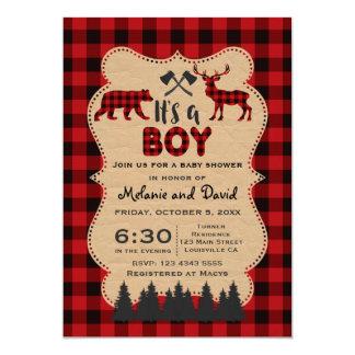 Búfalo rojo del leñador pequeña fiesta de invitación 12,7 x 17,8 cm