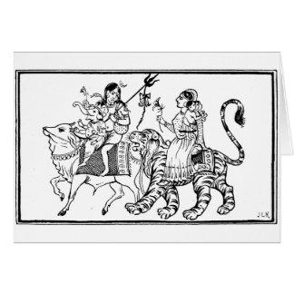 Búfalo y tigre tarjeta de felicitación