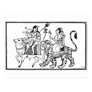 Búfalo y tigre postal