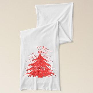 Bufanda Árbol de navidad festivo y estrellas cones