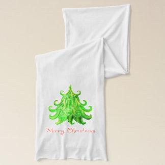 Bufanda Árbol de navidad moderno de la acuarela