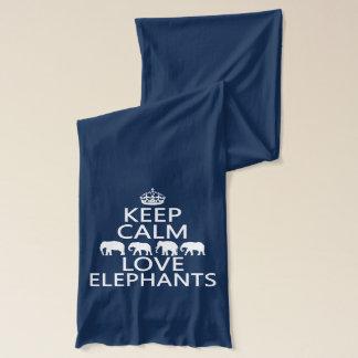 Bufanda Guarde la calma y ame los elefantes (los colores