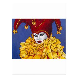 Bufón rojo y amarillo del carnaval postal