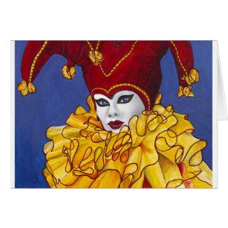 Bufón rojo y amarillo del carnaval felicitaciones