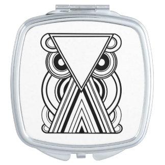 Búho abstracto decorativo (negro y blanco) espejos para el bolso