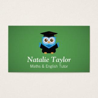 Búho azul de la graduación, profesor particular tarjeta de negocios