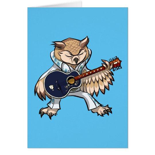 Búho de la guitarra del rock-and-roll en dibujo tarjeta de felicitación