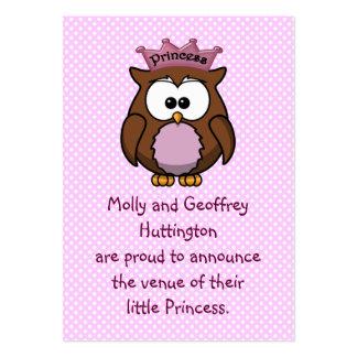 Búho de la princesa tarjetas de negocios