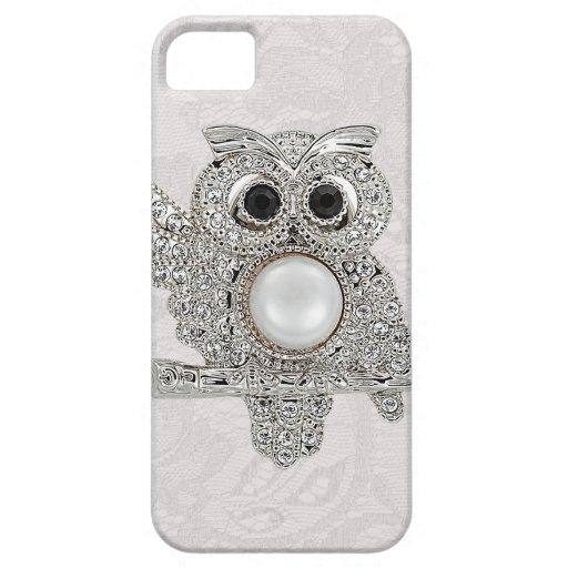 Búho de los diamantes y IMAGEN impresa del cordón  iPhone 5 Case-Mate Protectores
