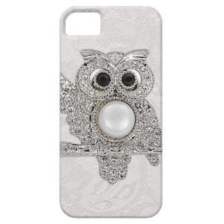Búho de los diamantes y IMAGEN impresa del cordón iPhone 5 Cárcasas