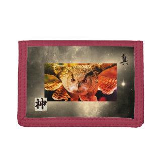 BÚHO de nylon triple rojo de la cartera CON KANJI