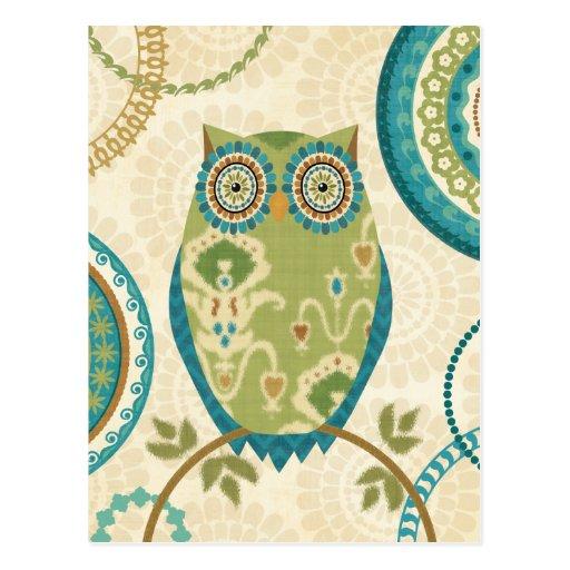 Búho decorativo con diseños circulares tarjeta postal