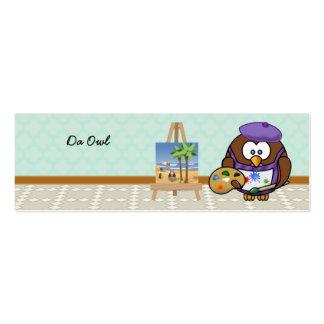 búho del artista tarjetas de visita mini