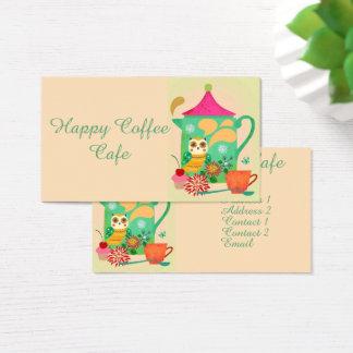 Búho del café de la mañana tarjeta de visita