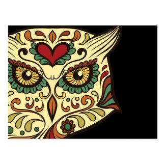 Búho del cráneo del azúcar - diseño del tatuaje postal