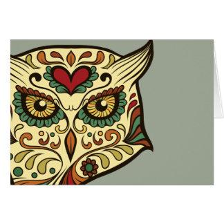 Búho del cráneo del azúcar - diseño del tatuaje tarjeta de felicitación