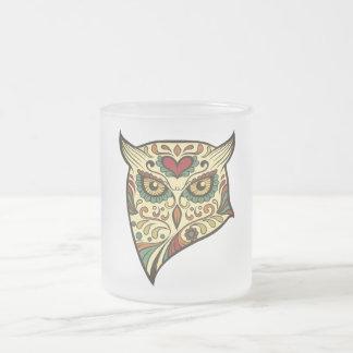 Búho del cráneo del azúcar - diseño del tatuaje taza de cristal esmerilado