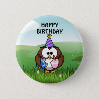 Búho del cumpleaños chapa redonda de 5 cm