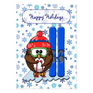 búho del esquiador tarjetas de visita grandes