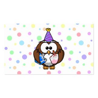 búho del fiesta plantilla de tarjeta de visita