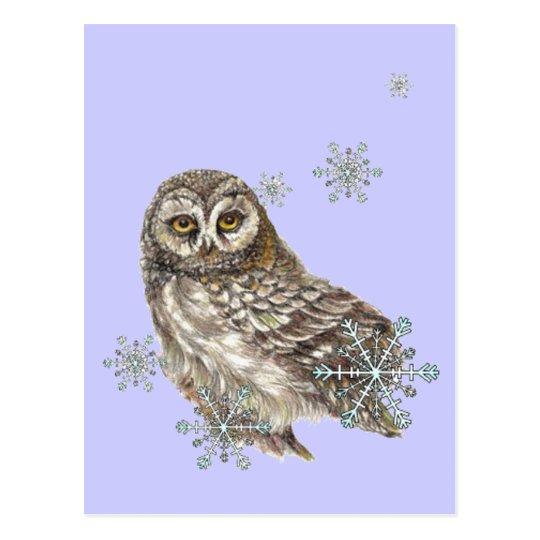 Búho del invierno de los copos de nieve, pájaro de postal