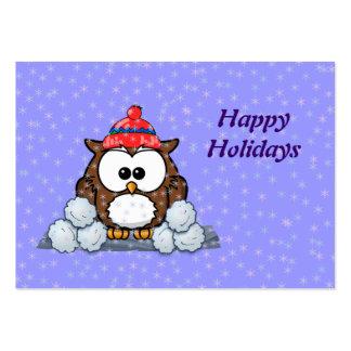 búho del invierno tarjetas de negocios