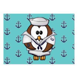 búho del marinero tarjetas de visita grandes