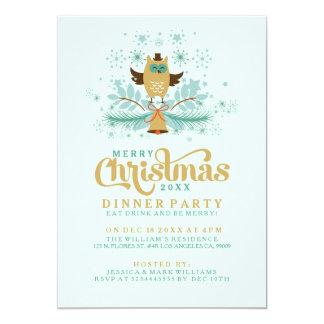 Búho del navidad, Bell e invitación de la cena de