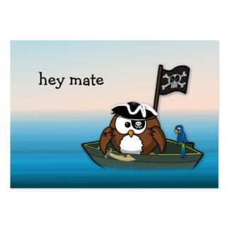 búho del pirata - fiesta de cumpleaños tarjetas de visita grandes