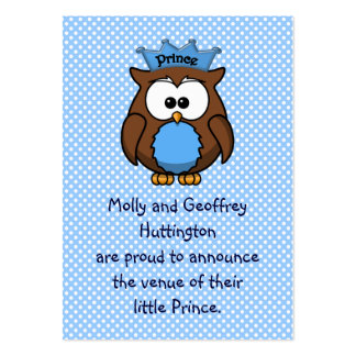 Búho del príncipe plantillas de tarjeta de negocio