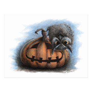 Búho del vampiro - postal de Halloween