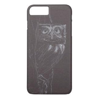 Búho - dibujo original - tinta blanca - caso funda iPhone 7 plus