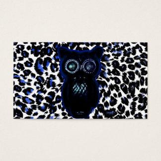 Búho en puntos negros y azules del leopardo tarjeta de negocios