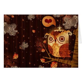 Búho enamorado tarjeta de felicitación