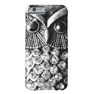 Búho Jewelled glamoroso del metal Funda Para iPhone 6 Barely There