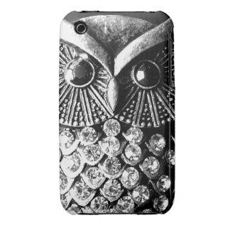Búho Jewelled glamoroso del metal iPhone 3 Case-Mate Protector