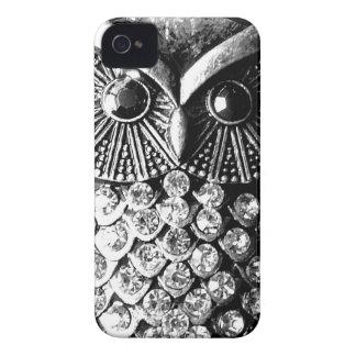 Búho Jewelled glamoroso del metal iPhone 4 Case-Mate Fundas