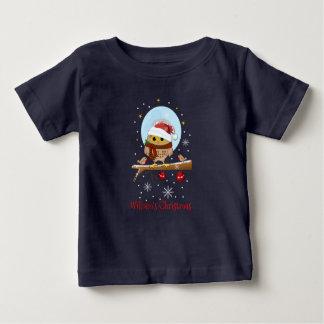 Búho lindo de Santa con el texto y el nombre de Camiseta De Bebé