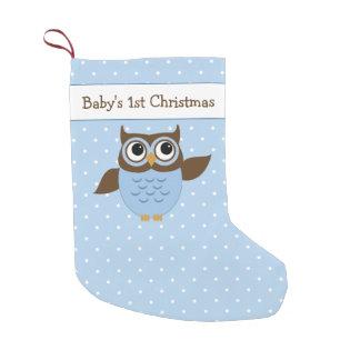 Búho lindo del 1r navidad del bebé calcetín navideño pequeño