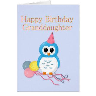Búho lindo del cumpleaños de la nieta tarjeta de felicitación