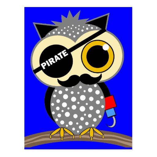 búho lindo del pirata postales