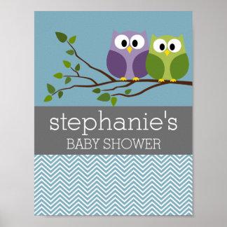 Búho lindo en la rama - ducha azul del bebé impresiones