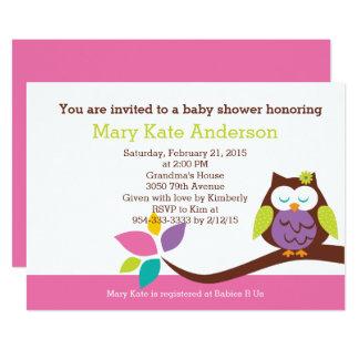 BÚHO lindo en una fiesta de bienvenida al bebé de Invitación 12,7 X 17,8 Cm