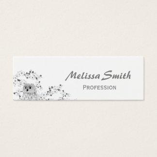 Búho lindo y flores de cerezo blancos y negros tarjeta de visita pequeña