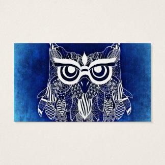 Búho moderno azul tarjeta de negocios